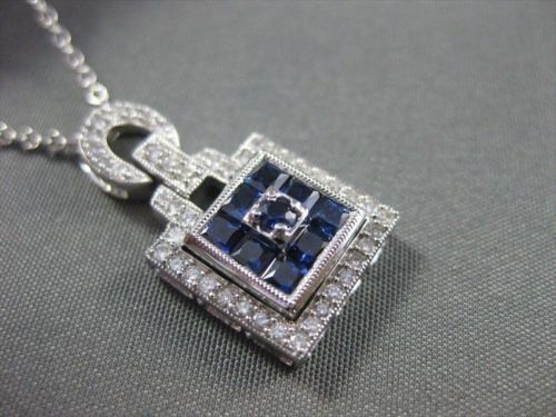 ANTIQUE 1.14CT SAPPHIRE & DIAMOND 18KT WHITE GOLD SQAURE PENDANT AMAZING! #15198