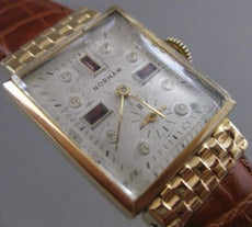 ESTATE GARNET NORMAN 14K YELLOW GOLD SQUARE ETCHING WATCH MECHANICAL WORKS #2417