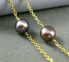 ESTATE TAHITIAN PEARL 14KT YELLOW GOLD 3D BY THE YARD DIAMOND CUT NECKLACE 24938