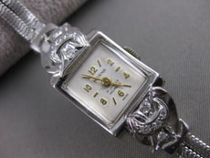"ANTIQUE OLD EURO MINE DIAMOND 14K WHITE GOLD HERNA WATCH 17 JEWEL SWISS 7"" 21595"