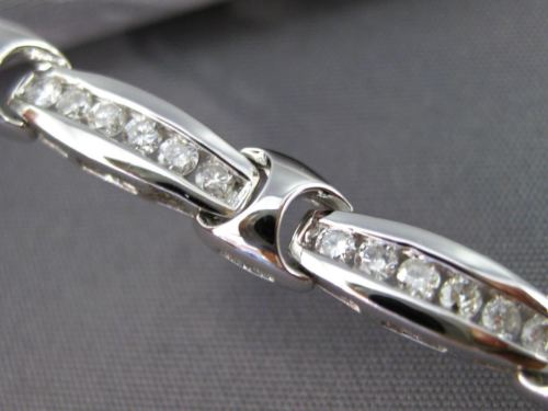 ESTATE 1.75CT DIAMOND 18KT WHITE GOLD 3D CLASSIC 6 STONE CHANNEL TENNIS BRACELET