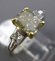 LARGE 2.08CT WHITE & FANCY YELLOW DIAMOND 18KT TWO TONE GOLD 3D ENGAGEMENT RING