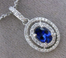 ESTATE .78CT DIAMOND & SAPPHIRE 18K WHITE GOLD DOUBLE HALO OVAL FLOATING PENDANT
