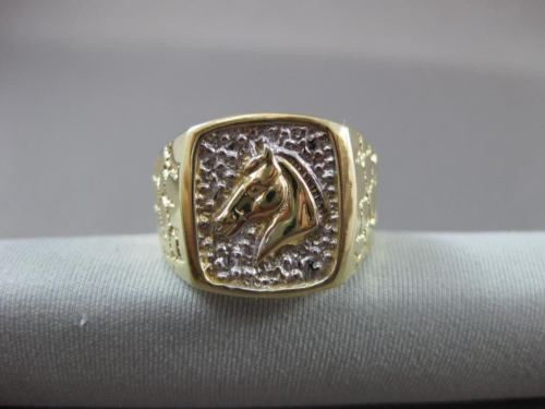 ANTIQUE LARGE 14KT WHITE & YELLOW GOLD NUGGET RECTANGULAR HORSE RING 15mm #22458