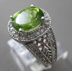 ESTATE 3.20CTW DIAMOND & AAA OVAL PERIDOT 14KT WHITE GOLD 3D HALO FILIGREE RING