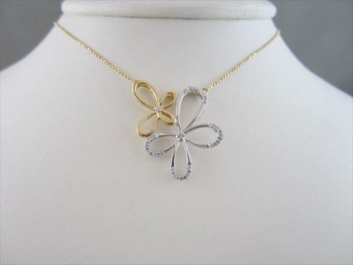 ANTIQUE 18KT BUTTERFLY FLOWER DIAMOND NECKLACE BEAUTIFUL ONE OF A KIND!!!!!!!!!