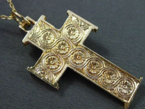 ANTIQUE LARGE 14KT YELLOW GOLD 3D HANDCRAFTED FILIGREE CROSS PENDANT #24760