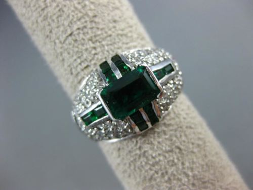 WIDE 2.20CT DIAMOND & AAA EMERALD 14KT WHITE GOLD 3D SEMI BEZEL ANNIVERSARY RING