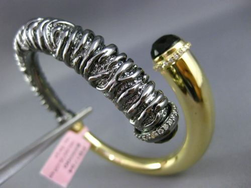 ESTATE EXTRA LARGE 6.69CT DIAMOND & TOPAZ 14K YELLOW BLACK GOLD BANGLE BRACELET