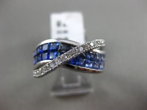 ESTATE WIDE 3.02CT DIAMOND & OMBRE AAA SAPPHIRE 14K WHITE GOLD 3D MULTI ROW RING