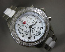 LARGE .65CT DIAMOND MICHELE WOMEN TAHITIAN STAINLESS STEEL CERAMIC WATCH #25620