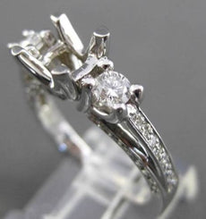 ESTATE .90CT DIAMOND 14K WHITE GOLD 3 STONE SEMI MOUNT 3D ENGAGEMENT RING #17613