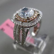 ESTATE LARGE GIA 2.75CT WHITE & BLUE & PINK DIAMOND 18KT GOLD 3D ENGAGEMENT RING