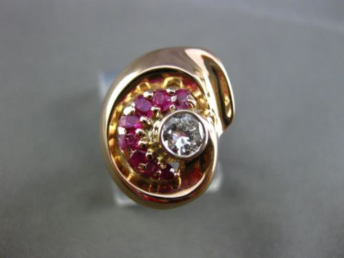 ANTIQUE WIDE .75CT DIAMOND & AAA RUBY 14KT WHITE & ROSE GOLD COCKTAIL RING 18325