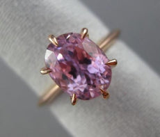 ESTATE 4CT KUNZITE 14KT ROSE GOLD CLASSIC HANDCRAFTED SOLITAIRE ENGAGEMENT RING