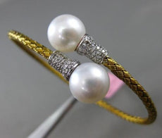 ESTATE .13CT DIAMOND & PEARL 14KT TWO TONE GOLD FLEXIBLE ROPE BANGLE BRACELET