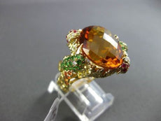 ANTTIQUE LARGE 13.22CT DIAMOND & GEMSTONES 18K YELLOW GOLD EXTRA FACET 3D RING