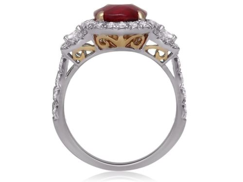 GIA CERTIFIED 5.18CT DIAMOND & AAA RUBY 18KT 2 TONE GOLD 3D HALO ENGAGEMENT RING
