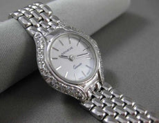 ESTATE LONG .50CT DIAMOND 14KT WHITE GOLD WHITE FACE GENEVE WOMANS WATCH #18233