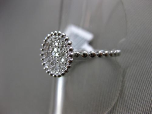 ESTATE .23CT ROUND DIAMOND 14K WHITE GOLD 3D BEAD CIRCLE MILGRAIN PAVE ROPE RING