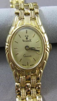 ESTATE 18KT YELLOW GOLD SIMPLE OVAL QUARTZ SWISS MOVEMENT VICENCE WATCH #18900