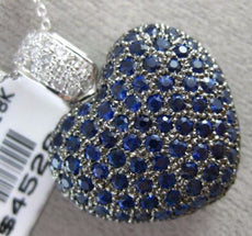 ESTATE EXTRA LARGE 4.31CT DIAMOND & AAA SAPPHIRE 18K WHITE GOLD 3D HEART PENDANT