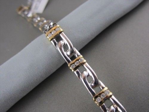 ESTATE WIDE 8mm 14KT TWO TONE 1.0CTW DIAMOND BRACELET
