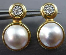 ESTATE LARGE .04CT DIAMOND & MABLE PEARL 14KT 2 TONE GOLD HANGING EARRINGS 25851