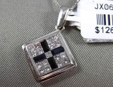 ESTATE .69CT DIAMOND & AAA SAPPHIRE 14KT WHITE GOLD EMERALD CUT FLOATING PENDANT