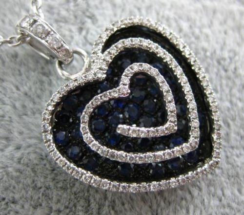 LARGE 1.69CT DIAMOND & AAA SAPPHIRE 18KT WHITE & BLACK GOLD MULTI HEART PENDANT