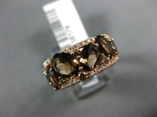 WIDE 3.93CT WHITE CHOCOLATE FANCY DIAMOND & AAA SMOKEY TOPAZ 14KT ROSE GOLD RING