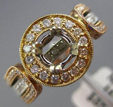ESTATE WIDE 1.36CT ROUND DIAMOND 14KT TRI COLOR GOLD HALO ROUND SEMI MOUNT RING