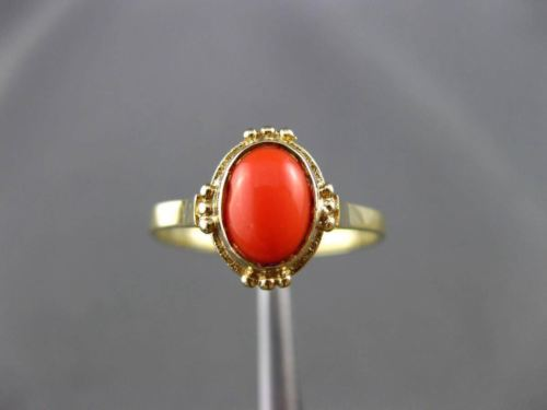 ANTIQUE AAA CORAL 14K YELLOW GOLD 3D HANDCRAFTED OVAL SOLITAIRE RING #24481