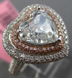 LARGE GIA 4.34CT BLUE DIAMOND 18KT WHITE & ROSE GOLD DOUBLE HEART ENGAGMENT RING