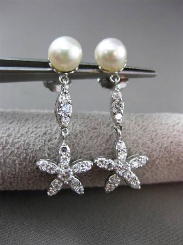 ANTIQUE .80CT DIAMOND 14K WHITE GOLD & PEARL FLOWER STAR HANGING EARRINGS #23357