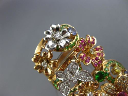 MASSIVE 3.73CT DIAMOND & AAA MULTI COLOR SAPPHIRE 14K ROSE GOLD FLOWER FULL RING