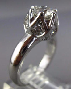 LARGE CERTIFIED 1.97CT DIAMOND 14KT WHITE GOLD 3D FLOWER ENGAGEMENT RING #25769