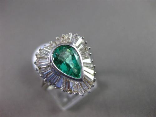 ANTIQUE LARGE 2.72CT DIAMOND & AAA COLOMBIAN EMERALD 18KT W GOLD BALLERINA RING