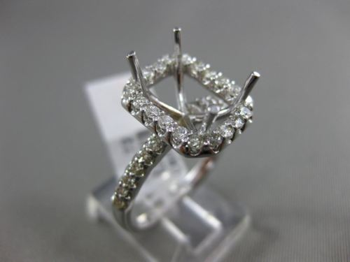 LARGE .72CT DIAMOND 14KT WHITE GOLD EMERALD CUT HALO SEMI MOUNT ENGAGEMENT RING