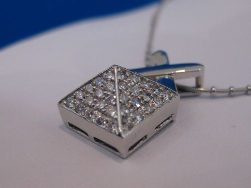 ANTIQUE 1.40CTW DIAMOND 18K WHITE GOLD POINTED PYRAMID SLIDE PENDANT +CHAIN #481