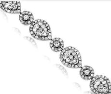 6.50CT DIAMOND 14K WHITE GOLD 3D ROUND & PEAR SHAPE CLUSTER HALO TENNIS BRACELET