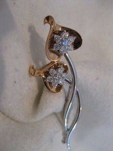 ANTIQUE .60CTW DIAMOND 18K WHITE ROSE GOLD HEARTS ARROWS PIN BROOCH FG VVS #1383