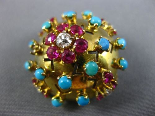 ANTIQUE 1.80CT DIAMOND & AAA RUBY & TURQUOISE 18KT YELLOW GOLD PENDANT & BROOCH