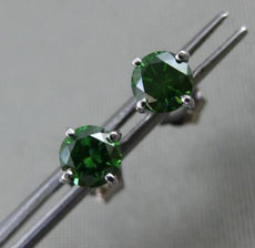 ESTATE WIDE .50CT GREEN DIAMOND 14KT WHITE GOLD CLASSIC STUD EARRINGS 4mm WIDE