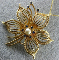 ANTIQUE LARGE .20CT AAA SAPPHIRE & PEARL 14KT YELLOW GOLD FLOWER BROOCH PENDANT