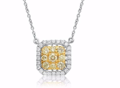 .69CT WHITE & FANCY YELLOW DIAMOND 14K 2 TONE GOLD OCTAGON CLUSTER LOVE NECKLACE