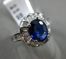 ESTATE 2.32CT BAGUETTE DIAMOND & OVAL SAPPHIRE 18K WHITE GOLD 3D ENGAGEMENT RING