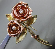 ANTIQUE LARGE .17CT DIAMOND 14K YELLOW & ROSE GOLD HANDCRAFTED ROSE BROOCH 24918