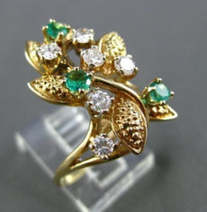 ANTIQUE WIDE .85CT DIAMOND & EMERALD 14KT YELLOW GOLD LEAF COCKTAIL RING #21758