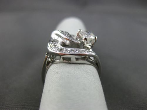 ANTIQUE 1.35CT DIAMOND 14KT WHITE GOLD OPEN CIRCLE FILIGREE COCKTAIL RING #20954